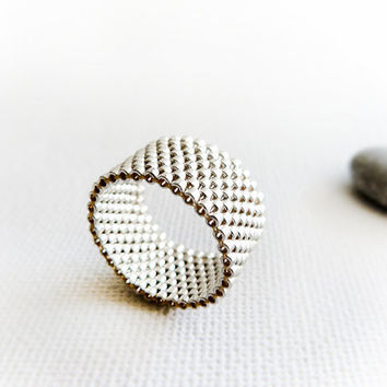 Wedding silver custom peyote band  ring. textured, unisex, simple, minimalist, Spring fashion jewelry, boxingdaysale