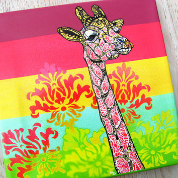 Giraffe Zentangle Canvas Print