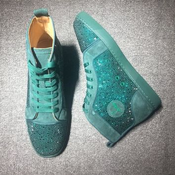 Christian Louboutin CL Rhinestone Mid Strass Style #1904 Sneakers Fashion Shoes Best Deal Online