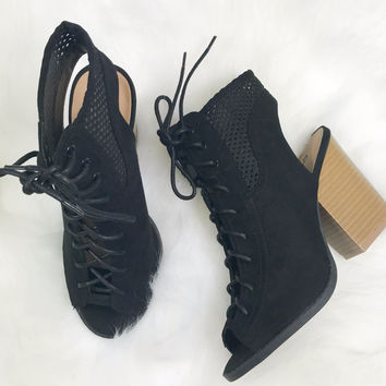 Falling For You Black Suede Lace Up Booties