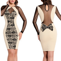 Beige Floral Long Sleeve Back Bow Mesh Bodycon Dress
