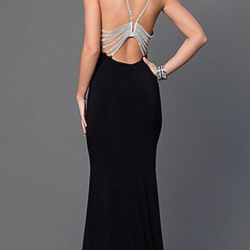Black Marina Floor Length Dress with Jeweled Back Straps