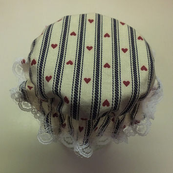 3 Blue Ticking with Red Hearts Canning Jar Cover Bonnets