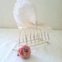 Vintage Silver Plated Ball Footed Toast Letter Postcard Rack Caddy Tea Party Decor