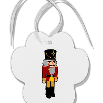 Festive Nutcracker - No Text Paw Print Shaped Ornament by TooLoud