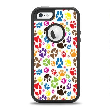 The Colorful Scattered Paw Prints Apple iPhone 5-5s Otterbox Defender Case Skin Set