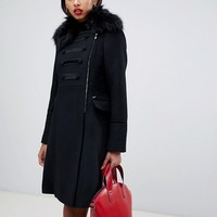 Morgan embroidered double breasted coat with faux fur trim detail in black | ASOS