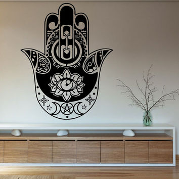 Wall Vinyl Decal Sticker Removable Room Hamsa Hand Fatima Amulet Indian Mandala Star Floral Design Feather Lotus Eye Yoga Gym Bedroom KT38