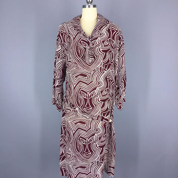 Vintage Dress / Day Dress / Tribal Print / 1920s Style Drop Waist Dress / Art Deco / Merlot Maroon