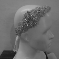 Bridal Wedding Vintage Beaded Crystal Embellished headpiece headband / Wedding Headband