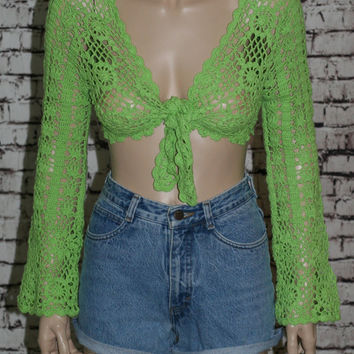 40%off 90s Cropped Sweater Bell Sleeves Rave Grunge Hipster Boho Gypsy Festival Cyber Goth Club Kid crochet jumper pastel green neon  XS S