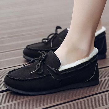 Warm thickening doug shoes with velvet flats lazy loafers Black