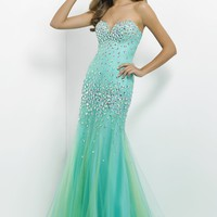 2014 Spring Mermaid Sweetheart Tulle Blue Floor-length Beading Prom Dress Style SBUL045,Beautiful Prom Dresses