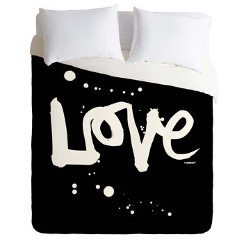 Kal Barteski Love Black Duvet Cover