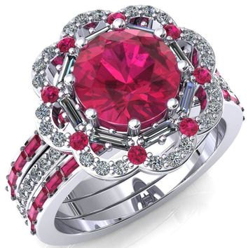 Camelia Round Lab-Created Ruby Accent Diamond and Ruby Halo Ring