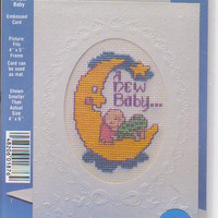 A New Baby Stitch a Card counted cross stitch kit 4 x 6 inches by NeedleMagic 1876 UNOPENED