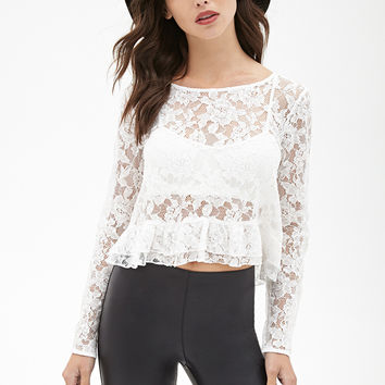 Fashion Ruffle Stylish Long Sleeve Leaf Lace Women's Fashion Double-layered Tops = 5895702273