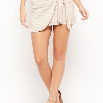 Striped Mock-Wrap Mini Skirt