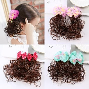 2 PCS Fashion Baby Bowknot Wavy Ponytail Wigs Hair Clips Hairpiece Girls Hairpins Children Hair Accessories Princess Hairgrips
