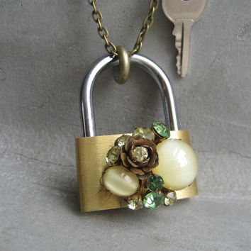 Padlock and Key Necklace - Hardware Jewelry - Lock And Key Necklace - Key Necklace - Vintage Green Earring Adornment - Rhinestone Necklace