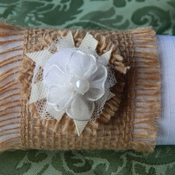 RUSTIC NAPKIN RING, Wedding Finged Napkin Ring, Napkin Holder,Burlap Napkin Ring with Flower, White Organza Flower & Pearl, Gift, Set of 25
