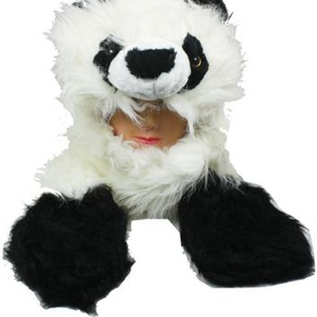 Furry Panda Animal Winter Hat with Mittens - CASE OF 50