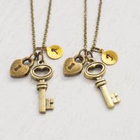 personalized 21st birthday necklace, key necklace, best friend, graduation gift, bridesmaid gift, couple necklace, key charm, wedding gifts