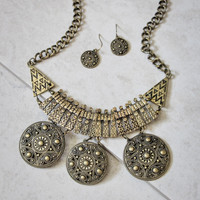 Boho Bib Necklace and Earring Set in Gold