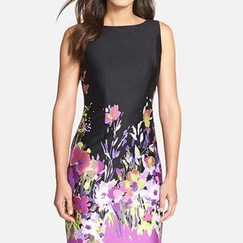 Women's Chetta B Floral Print Sateen Sheath Dress,