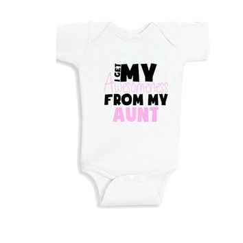 Culbutomind  Summer Newborn Infant Baby Boy Girl My Aunt Baby Bodysuit Outfit Sunsuit Clothes Set I Get Awesome From My Aunt
