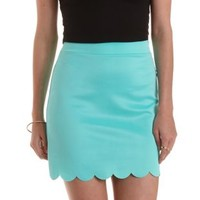Mint Scalloped Bodycon Mini Skirt by Charlotte Russe