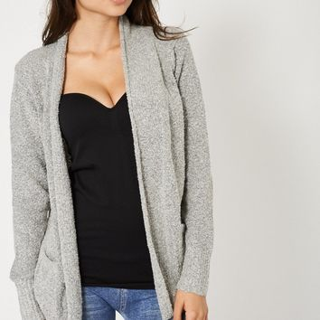 Grey Boucle Cardigan With Slouch Pockets
