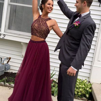 HQ Wine 2 Piece Prom Dresses 2017 Beaded Bodice Maroon Tulle Pageant Dresses Party Evening Gowns