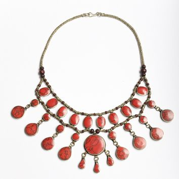 Afghan Coral Stone Tear Drop Necklace