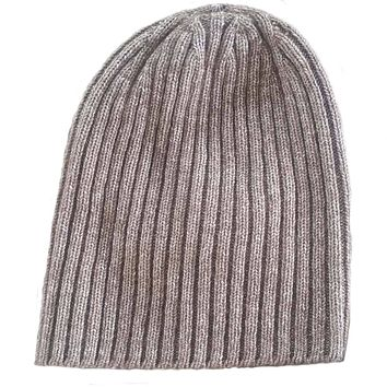 Ribbed Bison/Silk Knitted Hat
