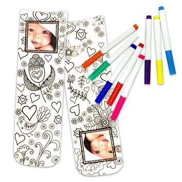 Floral/Heart Doodle Design to Color In with Your Photo Added - Free Fabric Markers Included