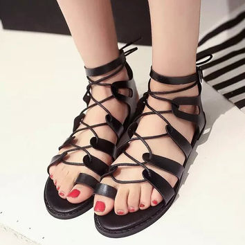 Strappy Roman Goth Gladiator Thong Lace Up Cross Strap Fish Mouth Bandage Sandals