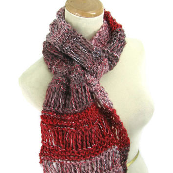 Knit Circle Scarf, Infinity Scarf, Knit Scarf, Hand Knit Scarf, Gift For Her, Fashion Accessory, Women Scarf, Fiber Art,Red Taupe Scarf,
