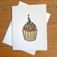 Funny Birthday Card - I Remembered - Cupcake with Candle - Witty Card