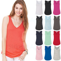 Bella Ladies Flowy V-Neck Tank Top Womens Size S M L XL 2XL 8805