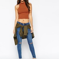 ASOS PETITE Sleeveless Crop Top With Turtleneck