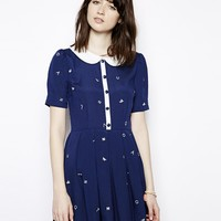 Nishe Buttoned Letter Embroidered Skater Dress With Collar - Navy/whit