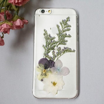 iPhone 6 Case Pressed Flowers, iPhone 5s Case Pressed Flower, iPhone 5 Case Clear, Galaxy S5 Case Resin, White Pressed Flower Phone Case