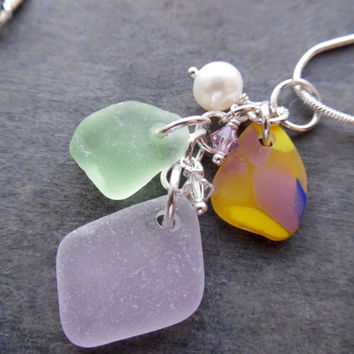 Lavender Cluster Sea Glass Necklace Charm Jewelry Beach Glass Pendant Yellow Purple Sterling