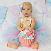 The Emma Tutu & Headband- Aqua and Pink , Baby, Girl, Newborn, Toddler, 1st birthday, cake smash, photo prop