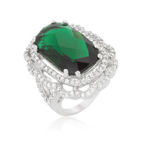 Green Cocktail Crest Ring, size : 06