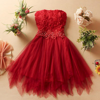 Homecoming dress Bridesmaid Sleeveless Bandeau Chiffon Pleated Elegant Dress Cocktail/ Evening Dresses/Wedding dress
