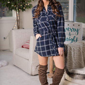 Pleasant In Plaid Long Sleeve Collared Tie Waist Dress (Navy)