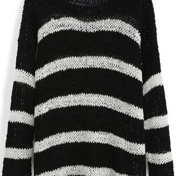 Black and White Stripe Knit Loose Fitting Sweater