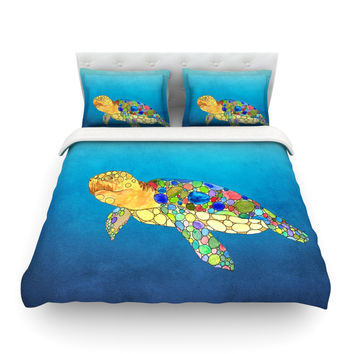 """Catherine Holcombe """"Bubbles"""" Blue Turtle Featherweight Duvet Cover"""